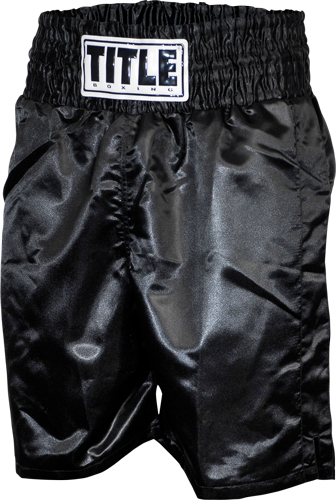 Black//Silver Title Professional Boxing Trunks