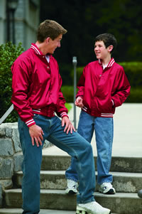e69d7ddf52a Augusta Sportswear Adult Satin Baseball Jacket with Striped Trim ...